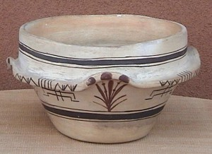 CERAMIC POLYCHROME BOWL, CORN DESIGN, HOPI PUEBLO, ARIZONA