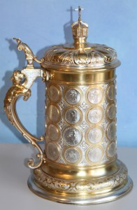 METAL GILDED TANKARD, GIFT FROM KAISER WHILHELM, GERMANY, CA. 1895-1900