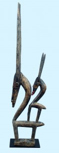 WOODEN-ANTELOPE-MOTHER-AND-MOUNTED-CHILD-ON-BACK-HEADPIECE-WITH-LONG-HORNS-CHIWARA-AFRICA