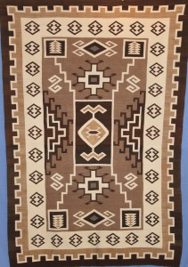 WOOL NAVAJO TWO GREY HILLS RUG, BESSIE MANY GOATS 2