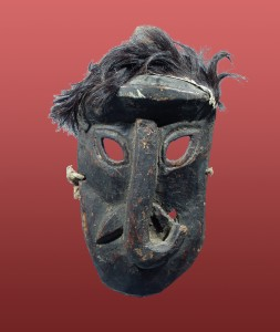 WOODEN ELEPHANT MASK ADORNED WITH FUR, NEPAL
