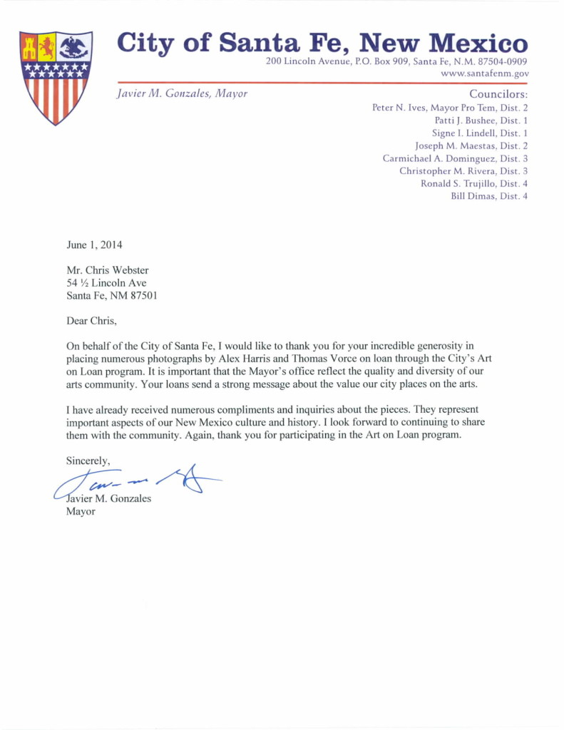 CITY OF SANTA FE, MAYOR JAVIER GONZALES LETTER, ART LOAN